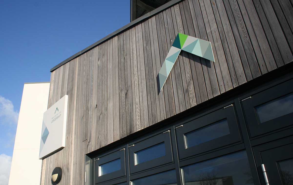 The Centre for Leadership sign at the entrance to the building