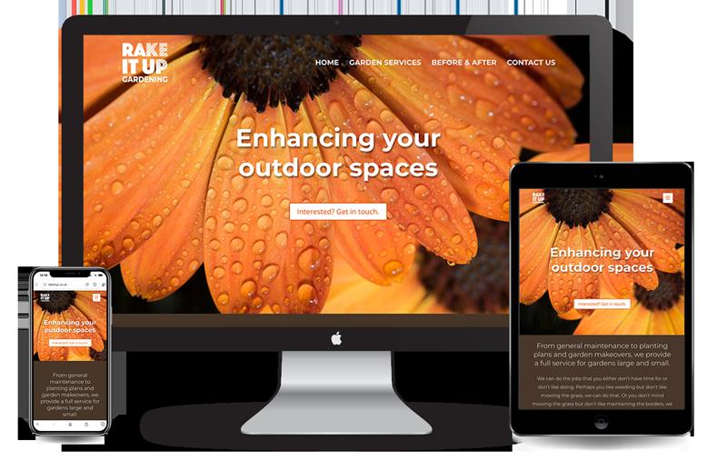 Rake it up website image shown in mobile formats and desktop